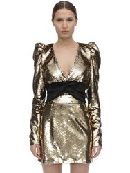 Amen Puff Sleeves Sequined Satin Top Gold