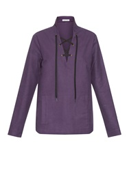 Tomas Maier Lace Up Long Sleeved Top