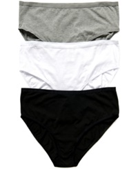 Motherhood Maternity Plus Size Hi Cut Cotton Briefs 3 Pack Blk Wht Gry