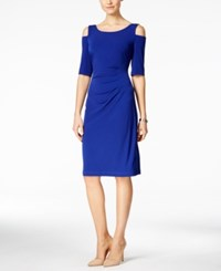 Connected Petite Ruched Cold Shoulder Dress Deep Royal