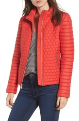 Andrew Marc New York Honeycomb Quilted Moto Jacket Red