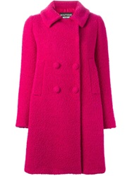 Boutique Moschino Double Breasted Boucle Coat Pink And Purple