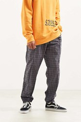 Urban Outfitters Uo Side Zip Windowpane Pant Black