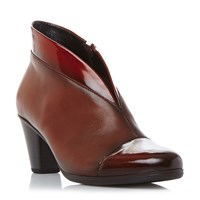 Gabor Enfield Asymmetric Leather Ankle Boots Red