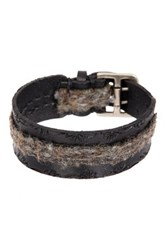 John Varvatos 20 25Mm Flannel Fabric Cuff Bracelet Black