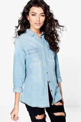 Boohoo Slim Fit Denim Shirt Mid Blue