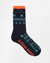 Bjorn Borg Tribal Knit Socks Blue
