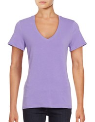 Lord And Taylor Solid V Neck T Shirt Purple