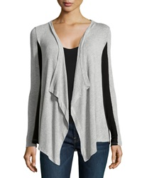 Red Haute Colorblock Stretch Knit Cardigan Gray Black