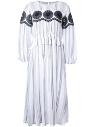 Muveil Striped Mid Dress White