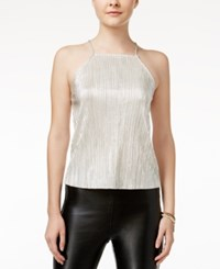 Shift Juniors' Metallic Crinkled Halter Top Pale Silver