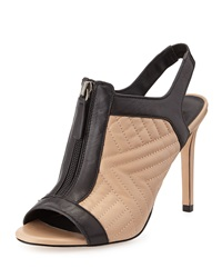 Charles David Quilted Leather Bootie Nude Black