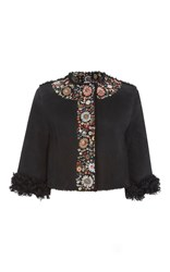 Red Valentino Cropped Jacket With Floral Embroidery Black