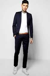 Boohoo Fit Suit Trousers Navy