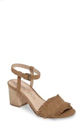 Sole Society Women's Sepia Fringe Sandal Coffee Suede