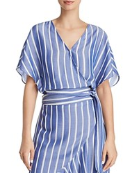 Lucy Paris Sophie Striped Cropped Wrap Top 100 Exclusive Blue White Stripe