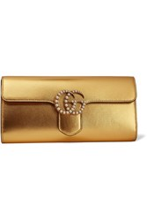 Gucci Gg Marmont Faux Pearl Embellished Metallic Leather Clutch Gold