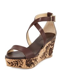 Jimmy Choo Portia Lace Embossed Wedge Sandal Dark Brown Natural Dk Brown Natural