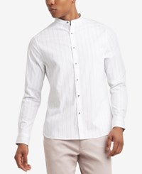 Kenneth Cole Reaction Men's Pinstripe Band Collar Shirt White