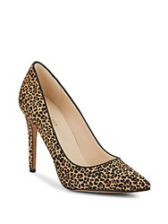 Nine West Frolic Leopard Print Calf Hair Pumps Natural Black