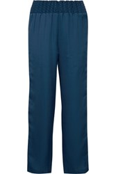 Maggie Marilyn Change The Rules Striped Jersey Trimmed Satin Track Pants Storm Blue