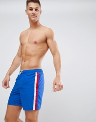 Asos Design Swim Shorts With Stripe Side Tape In Mid Length Blue