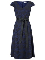 Jacques Vert Jacquard And Lace Dress Dark Blue