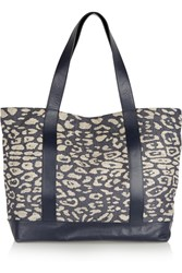 Iris And Ink Leather Trimmed Leopard Jacquard Tote