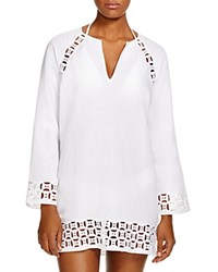 Tory Burch Embroidered Linen Tunic Swim Cover Up White