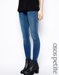 Asos Petite Jameson Low Rise Denim Jeggings In Mid Wash Midwash