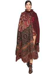 Etro Fringed Wool Blend Jacquard Knit Cape Multicolor