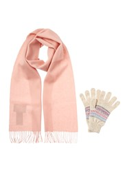 Barbour Plain Lambswool And Glove Gift Set Pink