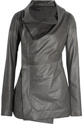 Rick Owens Draped Wool Paneled Leather Jacket Gray