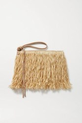 Nannacay Ana Isabel Leather Trimmed Straw Clutch Sand