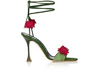 Manolo Blahnik Women's Xacactus Textured Leather Ankle Tie Sandals Green