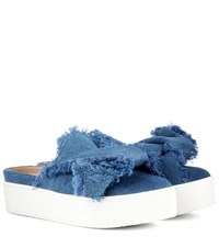 N 21 Denim Platform Slip On Mules Blue