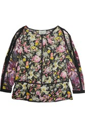 3.1 Phillip Lim Meadow Flower Cold Shoulder Printed Silk Satin Blouse Black