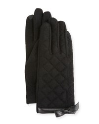 Portolano Bow Cuff Quilted Gloves Black Blac
