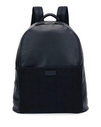 Giorgio Armani Leather And Knit Backpack Navy