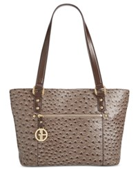 Giani Bernini Ostrich Embossed Tote Only At Macy's Grey