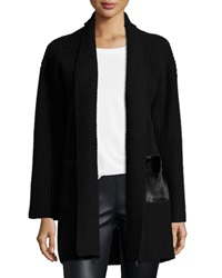 Elie Tahari Perry Sweater With Calf Hair Pockets Black
