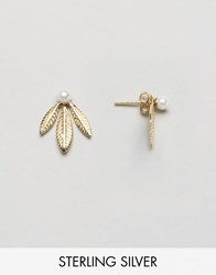 Asos Gold Plated Sterling Silver Faux Pearl And Leaf Swing Earrings Gold Plated