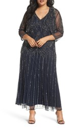 Pisarro Nights Plus Size Women's Beaded V Neck Gown And Jacket Navy Mercury