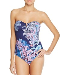 Tommy Bahama Paisley V Wire One Piece Swimsuit Blue