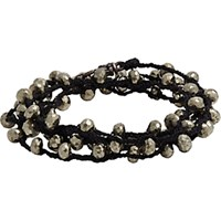 Feathered Soul Men's Pyrite Bead And Braided Silk Wrap Bracelet Silver