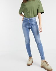 Noisy May High Waist Skinny Jeans In Light Blue Wash