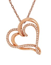 Lord And Taylor Diamonds 14K Rose Gold Interlocked Heart Pendant Necklace