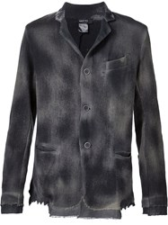 Avant Toi Smoked Effect Button Down Lightweight Jacket Black