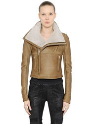 Rick Owens Classic Shearling Moto Jacket Brown