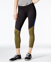 Energie Active Juniors' Colorblocked Cropped Leggings Olive Black